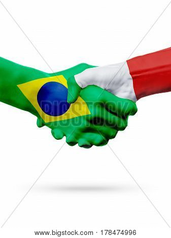 Flags Brazil Italy countries handshake cooperation partnership friendship or sports team competition concept isolated on white