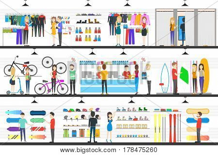 Interior Store of goods for extreme sports. vector illustration
