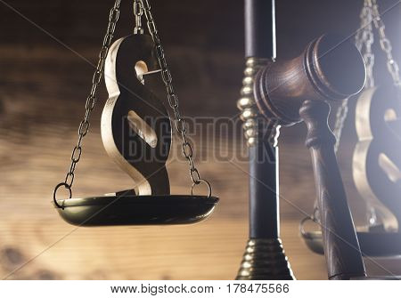 Law and justice concept - gavel of judge, scale of justice and paragraph symbols on wooden table