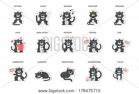 cute cat, stickers collection in different poses, different moods. vector illustration.