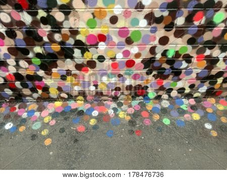 Multicolored painted wall.