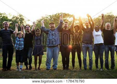 Cheerful Diversity People Holding Hands Unity