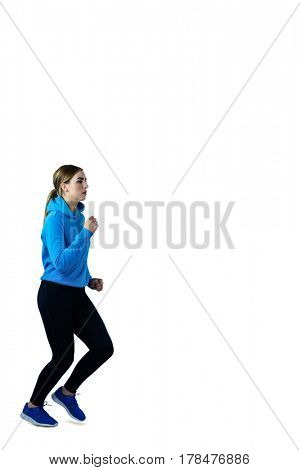 Woman jogging on white background