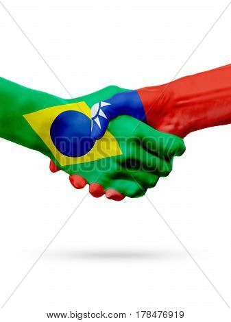 Flags Brazil Taiwan countries handshake cooperation partnership friendship or sports team competition concept isolated on white
