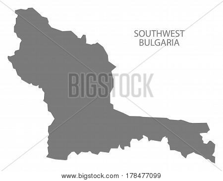 Southwest Bulgaria Region Map Grey Illustration Silhouette