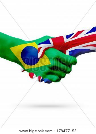Flags Brazil United Kingdom countries handshake cooperation partnership friendship or sports team competition concept isolated on white