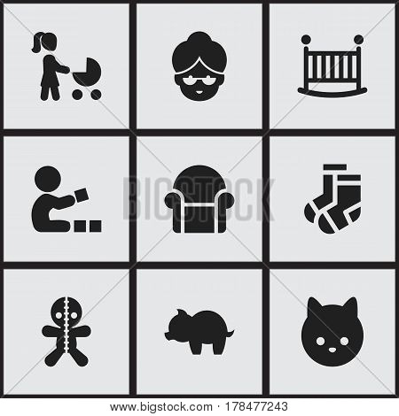 Set Of 9 Editable Kin Icons. Includes Symbols Such As Child Cot, Pussy, Moneybox And More. Can Be Used For Web, Mobile, UI And Infographic Design.