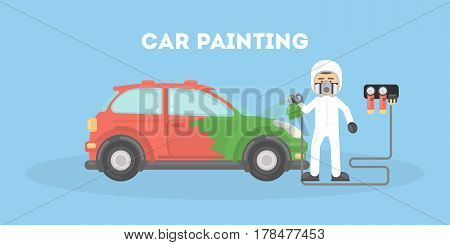 Specialist spray painting auto body at car collision repair shop. Flat style vector illustration isolated on white background.