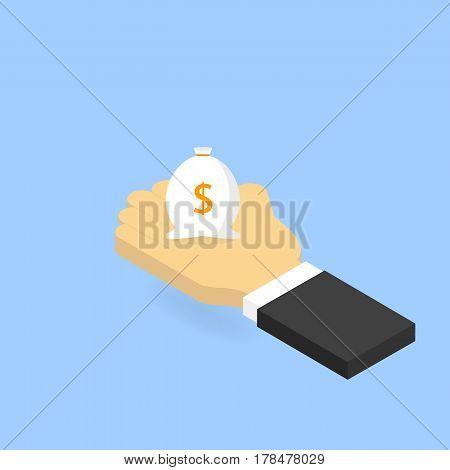 Businessman holding a bag of money. Vector isometric illustration.