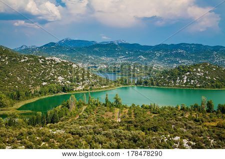 summer landscape of Bacinska Lakes surrounded by mountains Croatia
