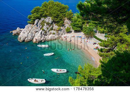 amazing aerial view of the beautiful Podrace beach in Brela Makarska Riviera Croatia
