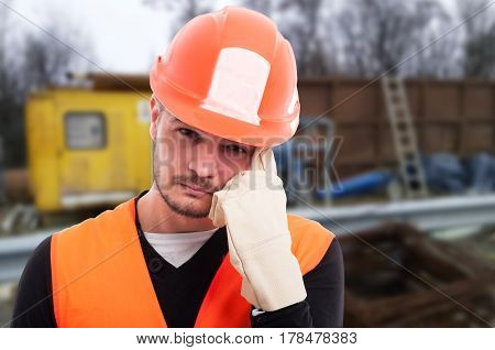 Closeup Portrait Of Attractive Builder