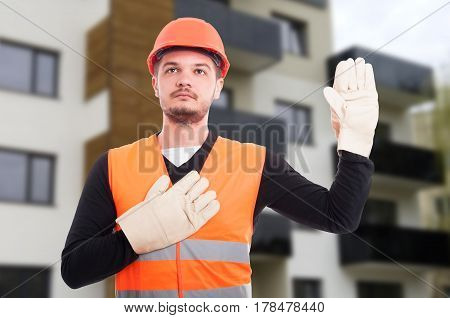 Serious Builder Taking A Vow Or Oath