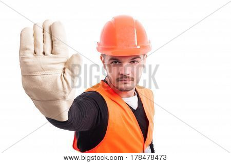 Male Constructor Showing Stop Gesture