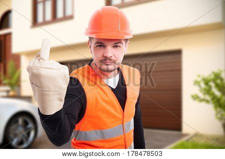 Young Constructor Showing Obscene Middle Finger Gesture