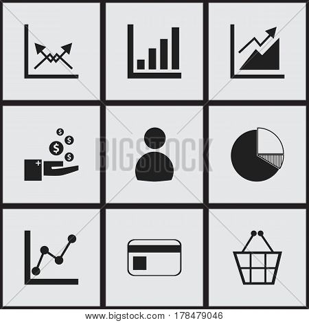 Set Of 9 Editable Logical Icons. Includes Symbols Such As Progress, Statistic, Bank Payment And More. Can Be Used For Web, Mobile, UI And Infographic Design.
