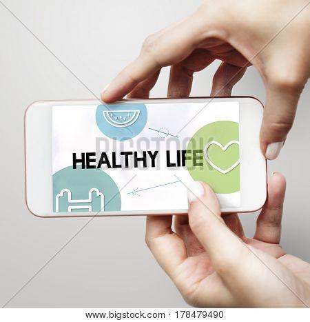 Health wellness food heart icon graphic