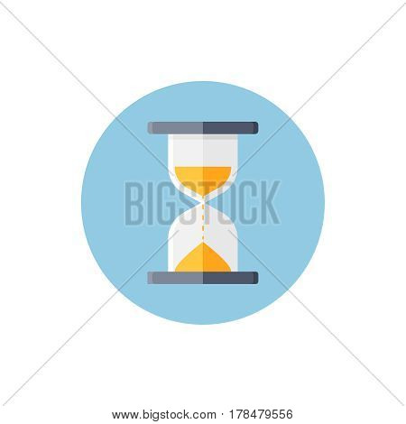 Hourglass in blue round on background vector concept. Time illustration in modern flat style. Color picture for design web site, web banner, printed material. Clock flat icon set. Sand watch flat icon