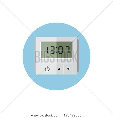 Timer in blue round on background vector concept. Time illustration in modern flat style. Color picture for design web site, web banner, printed material. Alarm clock flat icon. Electric watch icon
