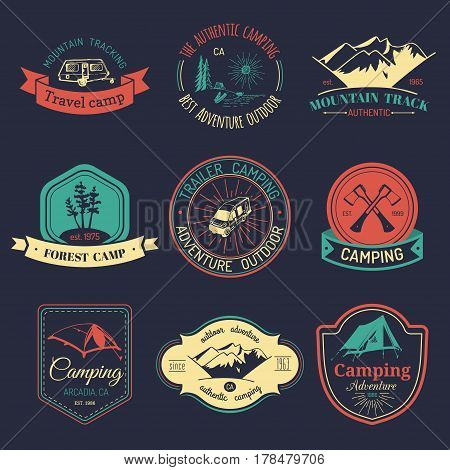 Vector set of vintage camping logos. Tourism emblems or badges. Retro signs collection of outdoor adventures