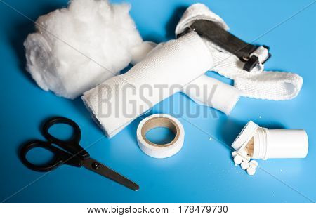 medical cotton wool medical bandage plaster Harness and scissors tablets pills. Doctor set abstract