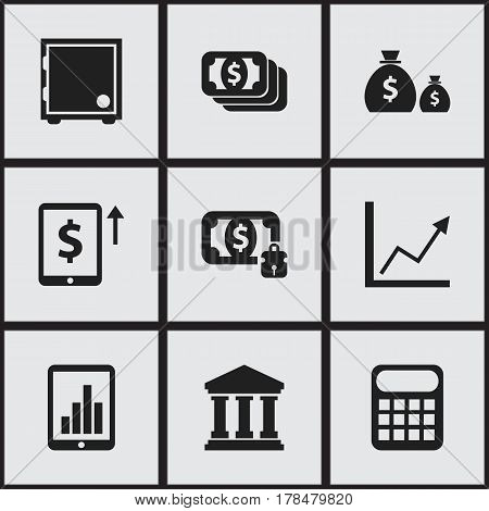 Set Of 9 Editable Finance Icons. Includes Symbols Such As Computation Machine, Diagram, Cash Growth And More. Can Be Used For Web, Mobile, UI And Infographic Design.