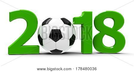 Green 2018 with football isolated on white background rendering 3D illustration