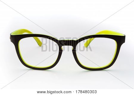 Nerd Black And Yellow Frame Glasses Without Lens, Isolated