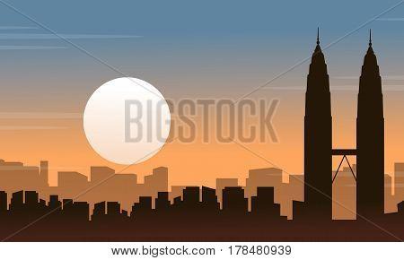 Silhouette of Malaysia city landscape at sunrise vector art