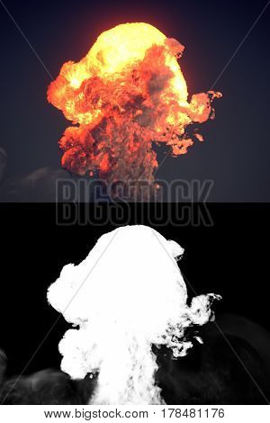 Large explosion with black smoke in dark with alpha channel. 3d rendering