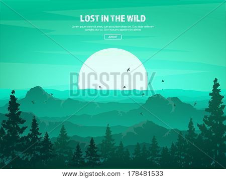 Mountains and forest. Wild nature landscape. Travel and adventure.Panorama. Into the woods. Horizon line.Trees, fogfog.