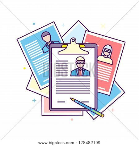 Flat line design illustration curriculum vitae recruitment candidate job position. Concepts for human resource and recruitment. Searching cv and profile of employees.
