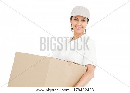 Delivery woman carrying a package on white background