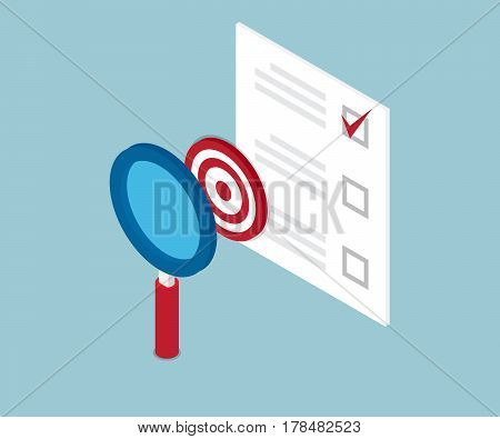 magnifying glass finding target and check list form vector illustration