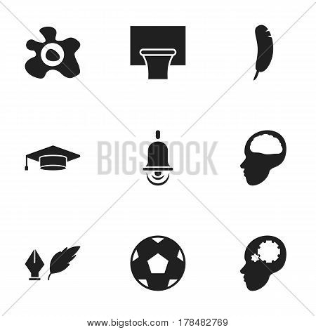 Set Of 9 Editable Graduation Icons. Includes Symbols Such As Creative Idea, Cerebrum, Basketball And More. Can Be Used For Web, Mobile, UI And Infographic Design.