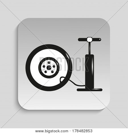 Inflation wheel. Vector icon. Black and white image on a gray background.