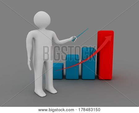 3D Man Presenting Business Growth Chart Graph Over Gray Background