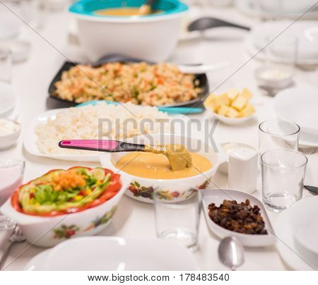 Beautiful ready lunch on dining table in modern home