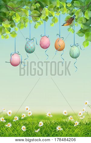 Vector spring landscape with hanging eggs, tree branches and a bird