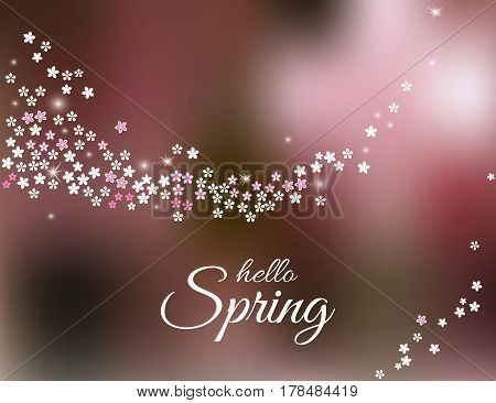 Hello Spring lettering with sparkling stream from sakura flowers on blurred pink background. Spring greeting card or poster template. Vector illustration