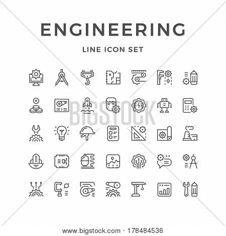 Set line icons of engineering isolated on white. Vector illustration