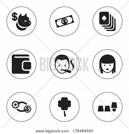 Set Of 9 Editable Business Icons. Includes Symbols Such As Billfold, Smoker, Currency And More. Can Be Used For Web, Mobile, UI And Infographic Design.