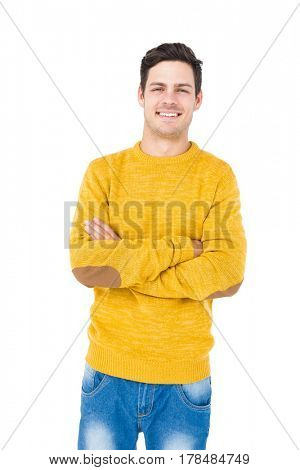 Handsome man with crossed arms on white background