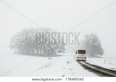Traffic On The Road In Bad Weather Conditions In Winter