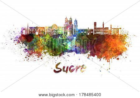 Sucre skyline in watercolor splatters with clipping path