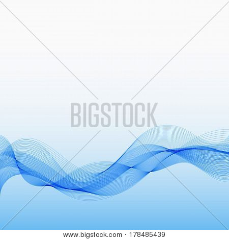 Abstract Blue Background with Wave Lines. Design Backdrop for Business Presentation Publications Blank Template Cover.