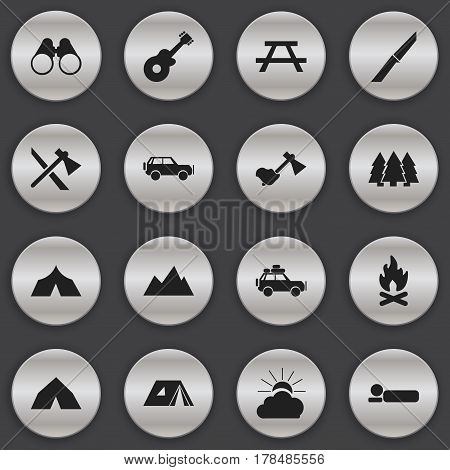 Set Of 16 Editable Travel Icons. Includes Symbols Such As Voyage Car, Musical Instrument, Peak And More. Can Be Used For Web, Mobile, UI And Infographic Design.