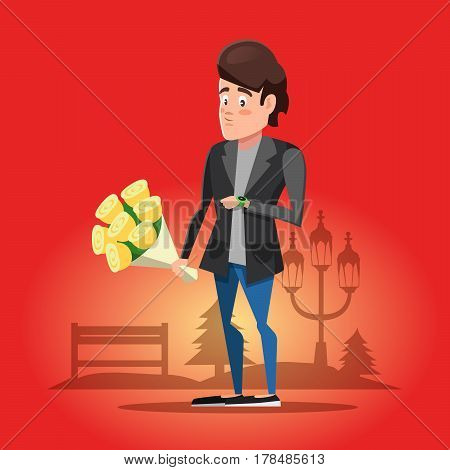 Young Guy Waiting for his Girlfriend with Flowers. Vector cartoon illustration