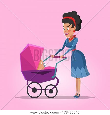 Young Mother with Newborn Baby. Vector cartoon illustration