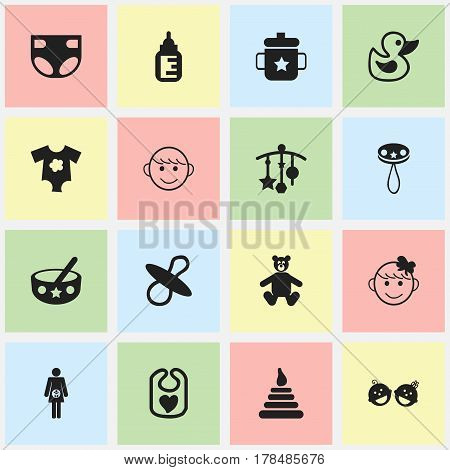 Set Of 16 Editable Infant Icons. Includes Symbols Such As Adorn, Spoon, Pregnancy And More. Can Be Used For Web, Mobile, UI And Infographic Design.